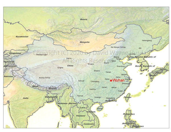 Map of Chinese Provinces indicating geographic location of the city of Wuhan in the Hubei Province